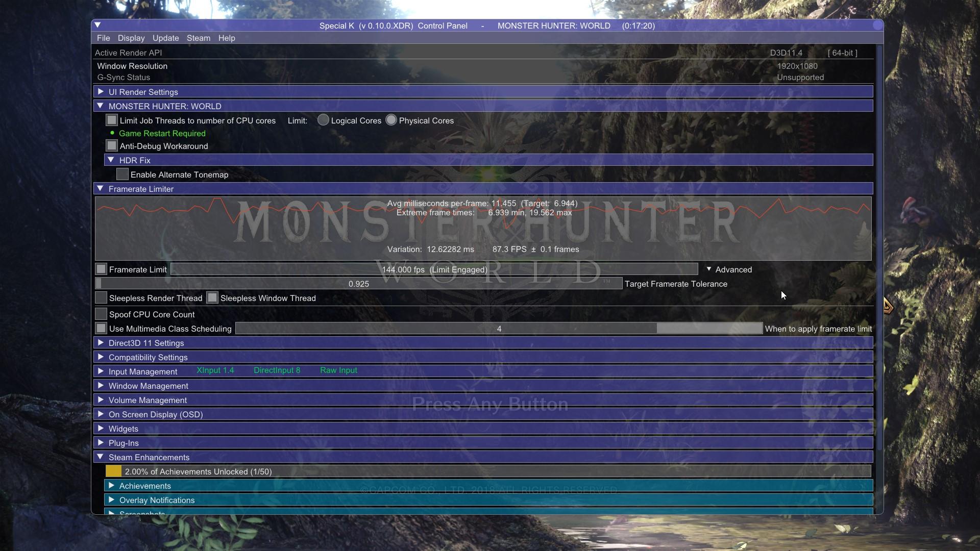 MONSTER HUNTER: WORLD(MHW)】CPU使用率軽減などを図る最適化